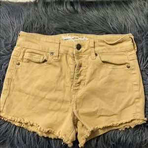 yellow/mustard jean shorts